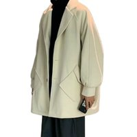 Men's Jackets Male trench coat with mixed rejection collar, spring and fall, plain Japanese pocket long sleeve, new, 9N23