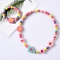 8 стилей дети ожерелье наборы аксессуар красочные бусины лиса кролик unicorn шаржевые бусины ожерелье и браслет дети девочка день рождения подарок 355 j2