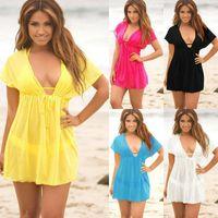 Ladies V-neck Mini Dress Cover Up Summer Beach Wear Swimwear Bikini Sexy Stretch Mesh Blouse Women's Blouses & Shirts