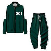 2021 Squid Game Jacket Pants Mens Tracksuits Round Six Men Women Costumes Cosplay Sports Zipper Cardigan Digital 456 Pattern Pocket Sweatshirt Set 2XS-4XL H1013