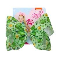 도매 잎 bowknot 머리 hairpin 아기 여자 럭키 클로버 barrettes 아이 녹색 나비 넥타이 헤어핀 어린이 봄 머리 장식 DH1084 T03