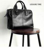 2021 Natural Cowskin 100% Genuine Leather Men's Briefcase Fashion Large Capacity Business bag Black Male Shoulder Laptop