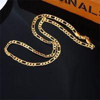 "24K Gold Platinum 도금 4.5mm 남성 NK 링크 피 가로 체인 목걸이 23.4inches (50cm) (크기 : 23.4 ""색상 : 금) 169 U2"