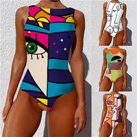 2021 Swimwear Swimwear Sexy Donne One Piece Costume da bagno Collas Collant Beachwear Stile Painterly Stile Bagno Costume da bagno Swim Monokini Y096
