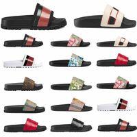 Verkaufen Designer Gummi Slide Sandale Blumenbrokat Männer Slipper Getriebe Bottoms Flip Flops Frauen Gestreiften Strand Kausal US5-11