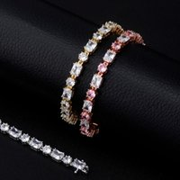 Link, Chain Charm 6mm Bracelet High Quality Round And Square Iced Out Cubic Zirconia Women's Hip Hop Fashion Jewelry For Gift