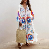Casual Dresses Women's Printed Sundress Fashion Summer Maxi Dress Bohemian Style V-Neck Long Sleeve Female Robe Vestidos