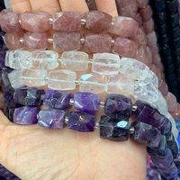 NATURALE Ametista cristallo quarzo fragola 15 '' sfaccettato cubo cubo fai da te sciolto per gioielli che fanno perline regalo della collana