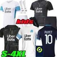 S-4XL Olympique De Marseille Mandanda 축구 유니폼 2021 2022 Om Maillot Foot Payet Thauvin Benedetto Jerseys 20 22 Milik Goalkeeper Shirts Men + Kids