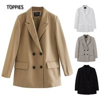 TOPPIES Womens Long Blazer Double Breasted Suit Jacket Loose Oversize Coat Solid Color Formal 210824