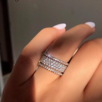 925 Sterling Silver Five Dazzling Layers Diamond Cz Engagement Wedding Band Rings for Women Men