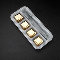4pcs / 세트 골드 큐브 얼음 냉동 금형 스테인레스 스틸 아이스 금속 모델 집게 커피 음료 위스키 바 아이스 와인 돌 크리 에이 티브 용품 DAP16