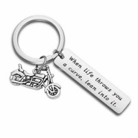 Key ring Stainless Steel letter tag with motorcycle keychain keyring holders lbag hangs for women men fashion will and sandy