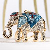 Adorável bonito colorido diamante rhinestone animal elefante chaveiros populares moda insímido saco de desenhista encantos chaveiros para as mulheres meninas