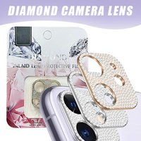 For iPhone 12 mini 11 pro max Series Diamond Metal Camera Lens Protector Tempered Glass Full Curved Samsung S20 Ultra Cameras Film with Retail Package