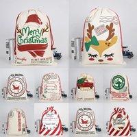 Party Decorations Christmas Santa Sack Bag Deer Drawstring Canvas Candy Present Strumpor Nyår Xmas Hem Inredning