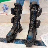 Настоящая кожа ROIS длинные сапоги черные нейлоновые чехлы боевой бой, полузащитный женский дизайнер зимняя платформа Martin Booties с коробкой
