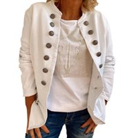 Women's Jackets 2021 Ladies Double Breasted Coat Fashion Solid Color Stand Collar Long-sleeved Tops Autumn Winter Clothes