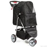 Gatos para transportadora viagem de 3 rodas dobrável carro pet e carrinho de criança- preto xtl0