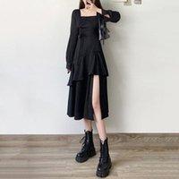 Повседневные платья Qweek Женские готические готы платье Punk Harajuku с длинным рукавом Bodycon Bandage Black Midi Party Party Streetwear Emo Patchwork