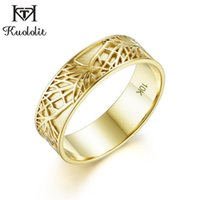 Cluster Rings Kuololit Man Ring 10K Solid Yellow Gold For Women Forest Couple Vintage Wedding Engagement Fine Jewelry