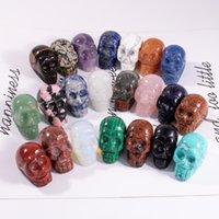 Decorazione del partito 1 pollice Crystal Quattro Cranio Scultura A Mano intagliata Gemstone Statua Statua Figurina da collezione Guarigione Reiki Halloween 2272 Y2