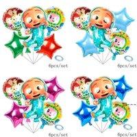 new6pcs / saco dos desenhos animados Acessórios Cocomelon Ji alumínio Balões de filme de seis peças-conjuntos duplos face crianças festa de aniversário decorativo balão decorativo EWF60