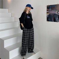 Schwarze Plaid Hose Mädchen Mode Sommer Harem Hohe Taille Japan Japan Jogginghosen Frauen Coole Hip Hop Streetwear Weiblich