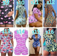 Tracksuits For Women Desinger Jumpsuits Nightwear Playsuit Workout Button Skinny Print V-neck Pajama Onesies Summer Plus Size Rompers