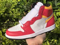 Высокое качество Jumpman High 1 1S Light Fusion красные баскетбольные туфли пламя красные желтые белые мужские женские тренеры спортивные кроссовки с коробкой полный размер 36-47,5