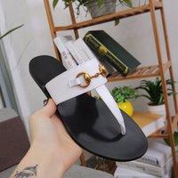 2021 Sommer Marke Designer Frauen Flip Flops Slipper Luxus Mode Echtes Leder Dias Sandalen Metal Kette Damen Casual Schuhe EU35-45