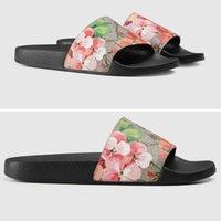 Gucci Brand 2021 Blooms Print G Canvas Pantofole per ricami Designer da ricamo Donne Slides Sandali Floral Brochade Flip Flops Spiaggia a righe l Oza