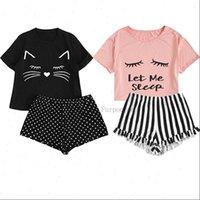 Homewear Cute Cat Cartoon Womens Sleepwears Printed Pajamas Set Casual Short Sleeve T Shirt Sleepwear Nightwear Pyjama For Women