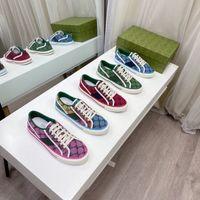 2021 Diseñadores Tenis 1977 Sneaker Lienzo Luxurys Zapato Beige Azul Lavado Jacquard Denim Women Shoes ACE Rubber Sole Bordado Vintage Casual Sneakers