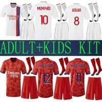 21 22 Maillot Lyon 2021 Kits adultos Jerseys de futebol Olympique Lyonnais Kit Kit Kit 4º 2022 Ol Futebol Camisas Traore Memphis Homens Equipamento Bruno Usd