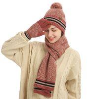 Dhjaa novo terno de inverno floco de neve tricô lã chapéu lenço luvas três pedaços