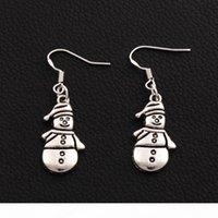 Boucles d'oreilles à bonhomme de neige Noël 925 Crochet d'oreille de poisson argenté 50Pairs lot tibétain argent 12.5x41.8mm E772