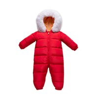 Baby Rompers Winter Newborn Down Coat Bodysuits Infant Babies Clothes Girls Boys Jumpsuit Hooded Fur Collar Kids One Piece Clothing Children Outwear Keep Warm B8761