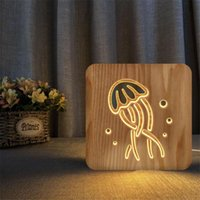 Night Lights Ins Wooden Jellyfish Lamp Animal USB LED Table Christmas Wood Light For Children Kids Room Year Decoration