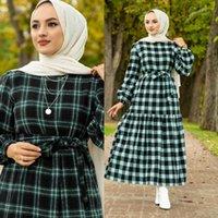 Ethnic Clothing Square Dress Zero Collar Long Sleeves Belt Detailed Winter Seasonal Autumn Women Muslim Fashion Hijab Turkey Dub