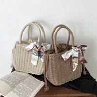 Portable New Woven Basket Female Fashion 2021 Style Scarf Bag And Western Simple Square Silk Small Trendy Fresh Fcgil