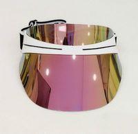 2021 fashion designer hat woman sun hat transparent PC dazzle color gradient sunglasses brand hat adjustable size 56-62cm