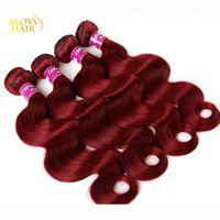 Burgundy Indian Hair Weave Bundles Grade 8A 와인 레드 99J 인도 버진 헤어 바디 웨이브 3 4 PCS 많이 인도 밍크 레미 인간의 머리카락 확장