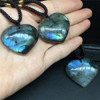 Raw Crystal Labradorite Moonstone Ocean Heart Pendant decor Jewelry Necklace Energy stone quartz Love Hearts Gift
