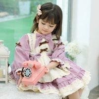 Abiti da ragazze Spagnoli ES per bambino Vintage Turchia Bambini a maniche lunghe Pink Lolita Ball Gown Girl Birth Birthday Chritmas Party Vestiti
