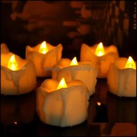 Décor Home & Garden6 12 24Pcs Amber Yellow Flickering Timing Flameless Led Tea Light Candles With Timer For Decorations (6 Hrs On 18 Off) Dr