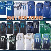 2021 novo jersey de basquete DallasMavericks Mens Luka Kristaps 6 Porzingis 77 Doncic Dirk 41 Nowitzki Malha Retro Roxo