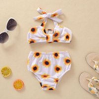 Clothing Sets Pudcoco Born Baby Girl Clothes Sunflower Printed 2Pcs Suit Elastic Halter Tops With Triangle Briefs Lovely Swimsuit Seaside