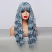 먼지가 많은 파란색 합성 레이스 프론트 가발 여성 코스프레에 대 한 내열성 섬유와 긴 바디 웨이브
