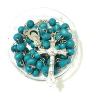24pcs lot Mix Colors Vintage Wood Beaded Rosary PENDANT NECKLACE Jewelry Stamped Free EPacket Ship Necklaces